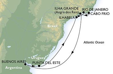 itinerario della crociera in  argentina, uruguay, brasile su MSC POESIA